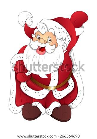 Funny Happy Dancing Santa - stock vector