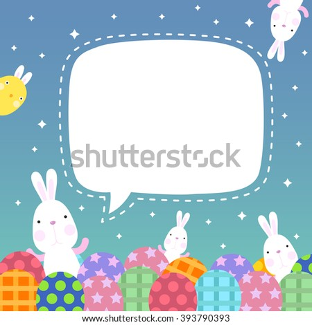 Funny Happy Easter with easter bunny and eggs and cute chick with copy space - stock vector