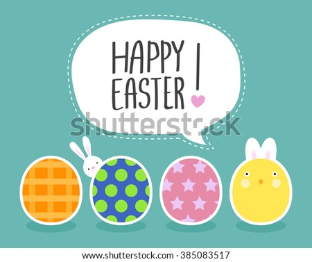 Funny Happy Easter with Eggs and cute chick and easter bunny  - stock vector