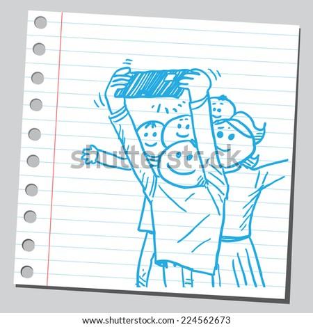 Funny happy people taking selfies - stock vector