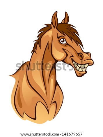 Funny horse head - stock vector