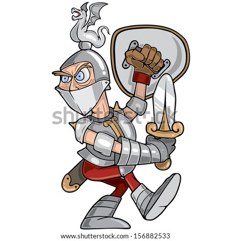 Funny illustration of a dragon knight warrior - stock vector