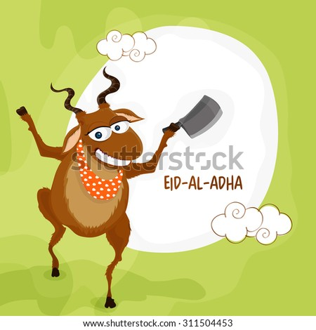 Funny illustration of a goat with cleaver knife on green background for Islamic Festival of Sacrifice, Eid-Al-Adha celebration. - stock vector