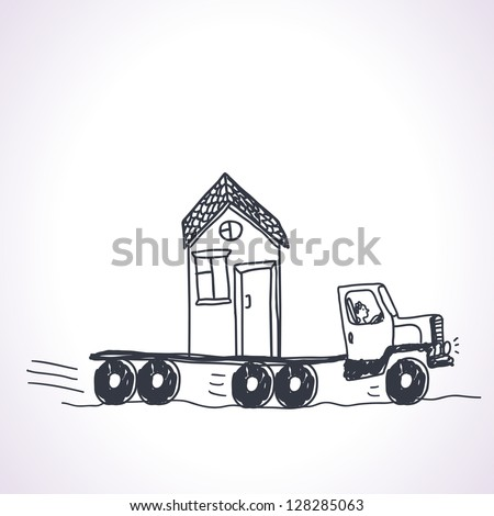 Funny illustration of concept with relocation - stock vector