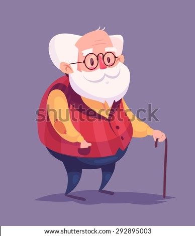 Funny  illustration of old man cartoon character. Isolated vector illustration. - stock vector