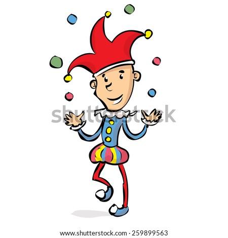 Funny joker celebrates fools day. Hand drawn vector cartoon illustration. - stock vector