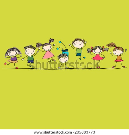 funny kids - stock vector