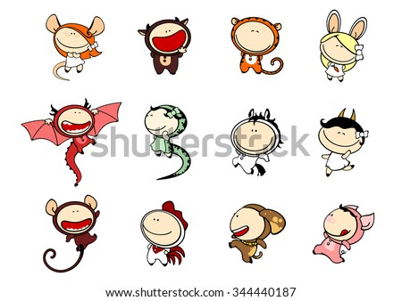 Funny kids #81 - Chinese Zodiac signs - stock vector
