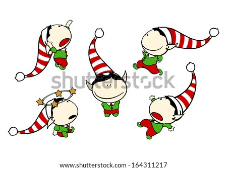 Funny kids - elf boy - stock vector
