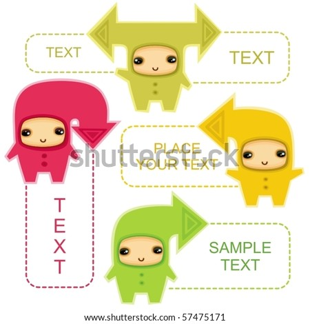 Funny kids in costumes of communication arrows - stock vector