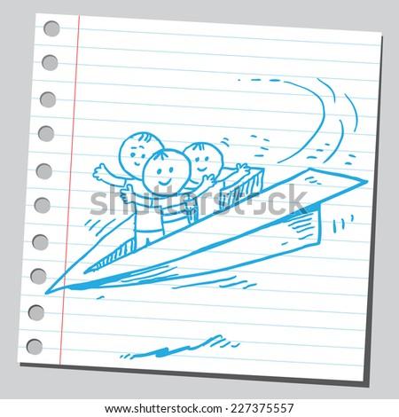 Funny kids in paper plane flying - stock vector