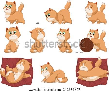 Funny kittens - stock vector