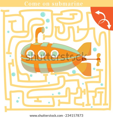 Funny labyrinth. Come on submarine get out of the maze. Submarine. Watercraft illustration. Concept quiz. Vector illustration. Isolated background - stock vector
