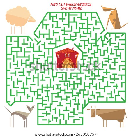 Funny labyrinth. Find out which animals live at home. Vector cartoon animal illustration. Colorful rebus for kid on isolated background - stock vector