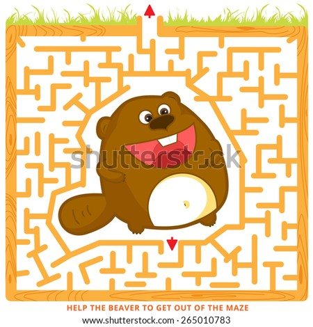 Funny labyrinth. Help the beaver to get out of the maze. Illustration with tangled lines. Cartoon beaver character. Isolated on white background. Eps 8 - stock vector
