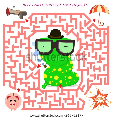 Funny labyrinth. Help the detective snake find the lost object. Vector cartoon snake illustration. Isolated on white background - stock vector