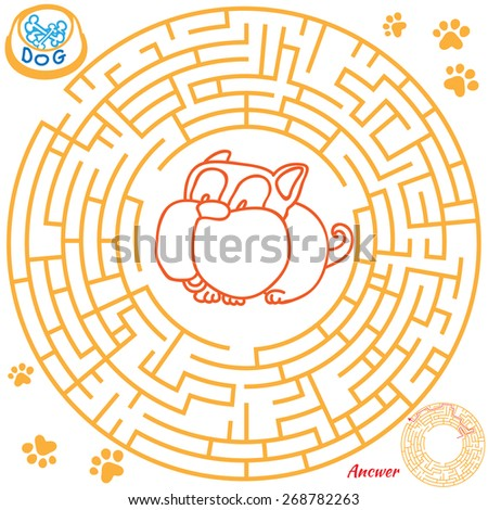 Funny labyrinth. Help the dog find the bone. Themed maze game. Vector cartoon dog illustration. Isolated on white background. Answer included. Eps 8 - stock vector