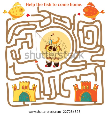 Funny labyrinth. Help the fish to come home. Illustration with tangled lines. Funny cartoon character. Vector illustration. Isolated on white background - stock vector