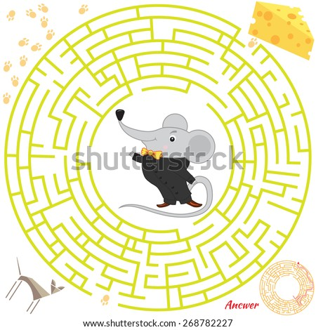 Funny labyrinth. Help the mouse find the cheese. Themed maze game. Vector cartoon mouse illustration. Isolated on white background. Answer included. Eps 8 - stock vector