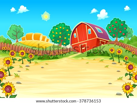 Funny landscape with the farm and sunflowers. Cartoon vector illustration - stock vector