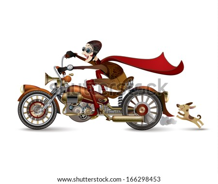 Funny laughing woman riding on a motorcycle. Steampunk - stock vector