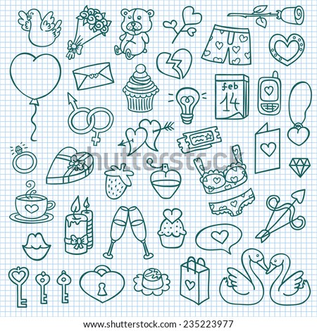 funny love icons. vector doodle collection of hand drawn icons  - stock vector