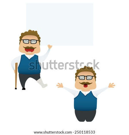 Funny man set doing actions for use in advertising, presentations, brochures, blogs, documents and forms, etc. - stock vector