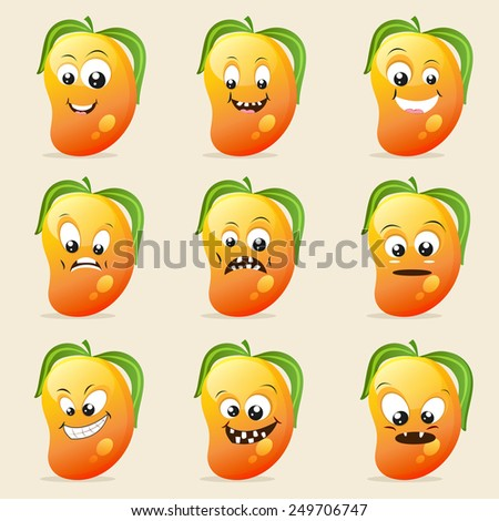 Funny mango character showing different facial expressions on beige background. - stock vector