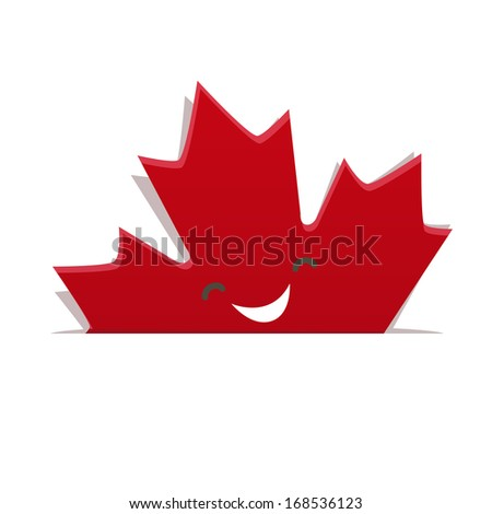 Funny maple leaf of Canadian flag - stock vector