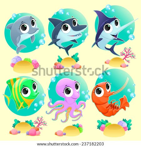 Funny marine animals with backgrounds. Vector cartoon illustration - stock vector