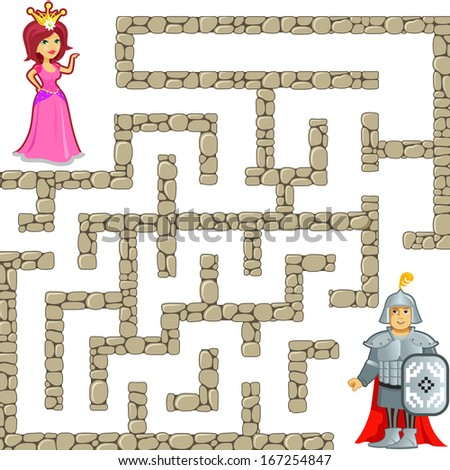 Funny Maze Game: Brave Warrior Find the Way to the Beauty Princess. Vector Illustration about Princess and Knight 's Relationship - stock vector
