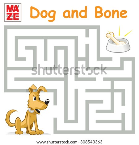 Funny Maze Game: Help the Cartoon Dog Find the Bone. Vector Illustration - stock vector