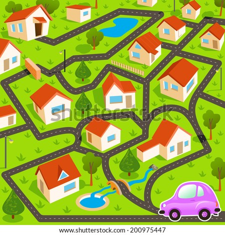 Funny maze game: the funny pink car find the way to house - stock vector