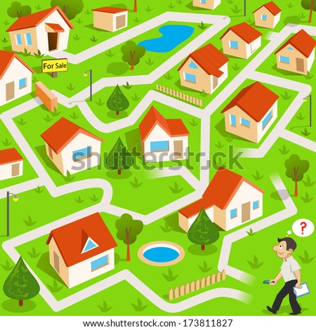 Funny maze game: the funny real estate agent find the way to house for sale - stock vector