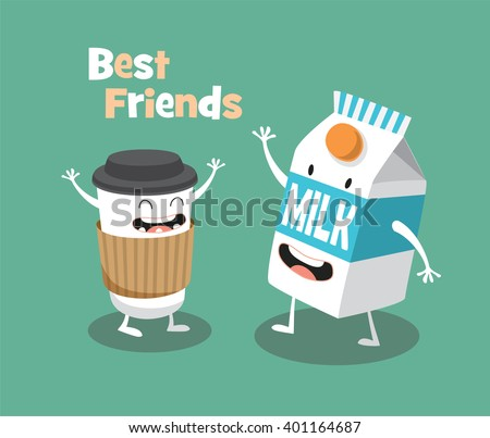 Funny Milk and cup of coffee. Vector cartoon. Comic characters. Breakfast - stock vector