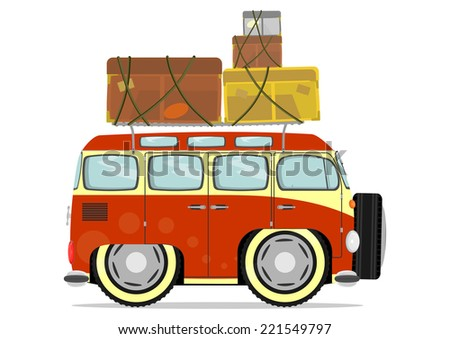Funny minivan while traveling. Vector illustration without gradients on one layer.  - stock vector