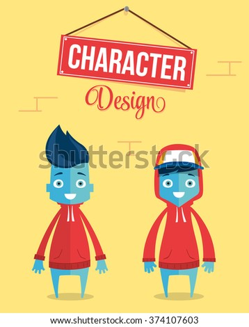 Funny Modern Young Character Design. Quality Vector Illustration - stock vector