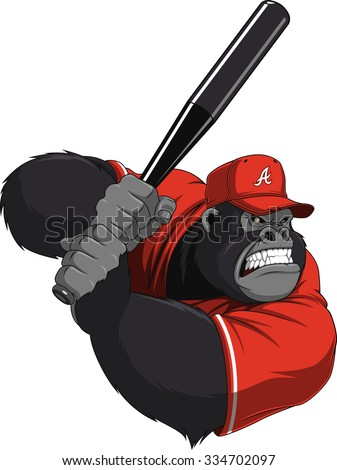 Funny monkey ballplayer - stock vector