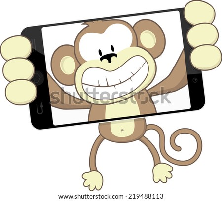 funny monkey cartoon photographing herself with smartphone isolated on white background - stock vector