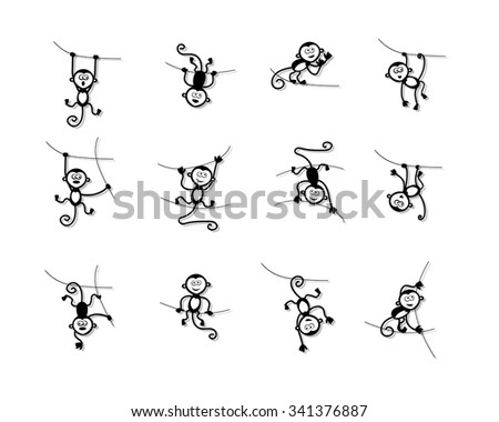Funny monkey collection for your design. Vector illustration - stock vector