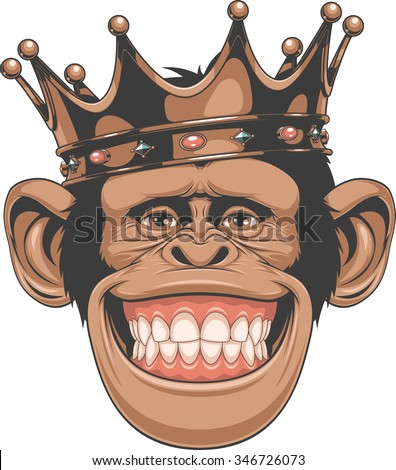 Funny monkey crown - stock vector