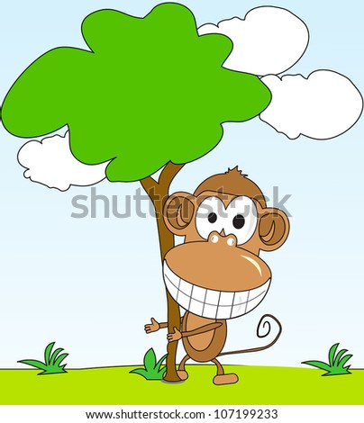 funny monkey hugging a tree in the background of the park - stock vector