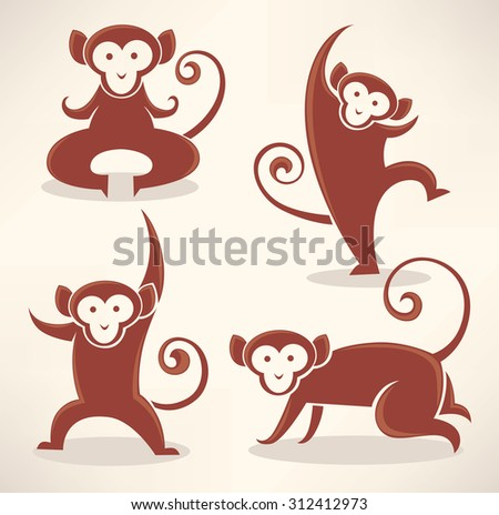 funny monkey silhouettes, vector collection of symbols of 2016 - stock vector