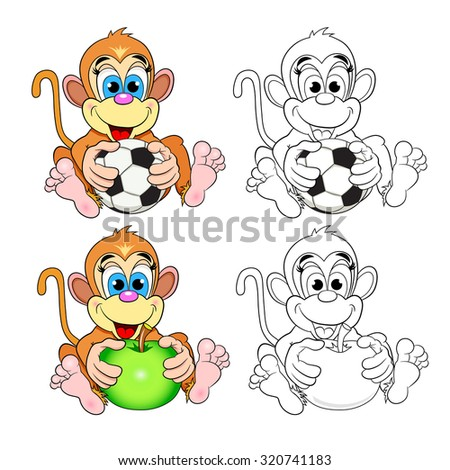 Funny monkey with an apple and a soccer ball. Color picture and a coloring book. - stock vector