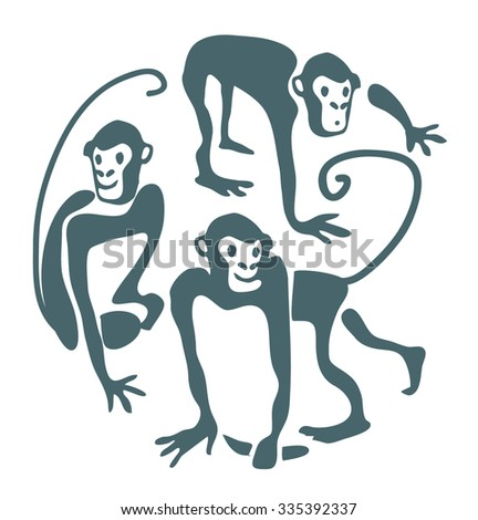 funny monkeys. The symbol of 2016 year. Vector illustration - stock vector