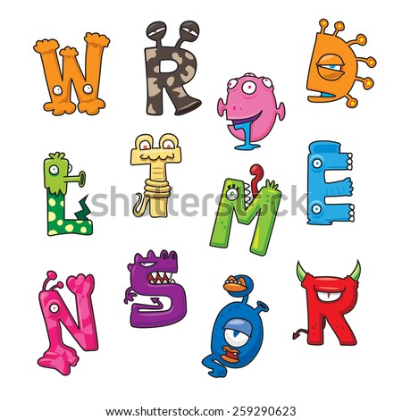 Funny monster cartoon alphabet - vector illustration - stock vector