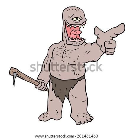 funny monster pointing - stock vector