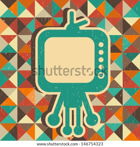 Funny monster with banner for your text. Vector illustration with retro background. - stock vector