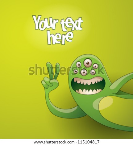 Funny monsters background 03, vector - stock vector