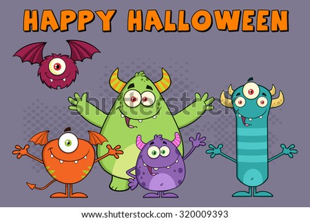 Funny Monsters Cartoon Characters. Vector Illustration Greeting Card - stock vector